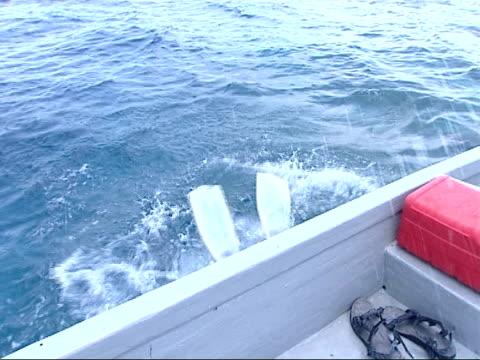 refugee camp / family visit deserted island / air views maldives / gvs shoreline / divers on men putting on diving gear man putting on diving goggles... - skibrille stock-videos und b-roll-filmmaterial