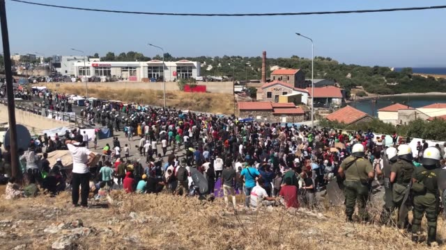 refugees and migrants from a greek refugee camp on september 11, 2020 protested the harsh living conditions as they remained homeless after a deadly... - greece stock videos & royalty-free footage