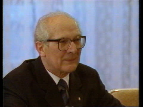refugees enter west germany via hungary tx erich honecker honecker speaking at meeting - ungarn stock-videos und b-roll-filmmaterial
