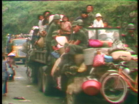 refugees flee the north vietnamese in the central highlands of vietnam. - 1975 stock videos & royalty-free footage