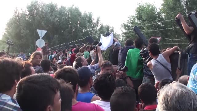 refugees have a sit-in protest at the hungarian- serbian border in horgos, serbia on september 15, 2015. after serbia closed its border gates to... - serbia stock videos & royalty-free footage