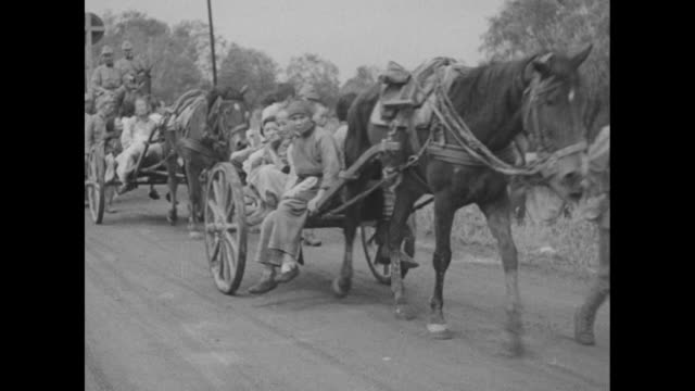 stockvideo's en b-roll-footage met refugees in horse carts pass the camera / a smiling woman and baby with amusing cherubic face / a soldier with cigarette in his mouth ladles food for... - paardenkar