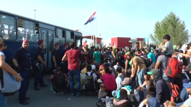 refugees wait to get on the buses those will bring them to the croatian village baranysko petrovo near hungarian border in beli manastir in croatia... - 東欧文化点の映像素材/bロール