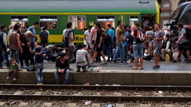 refugees who have flooded into budapest, hoping to catch trains to germany, wait on train platforms to board trains. - ungarn stock-videos und b-roll-filmmaterial