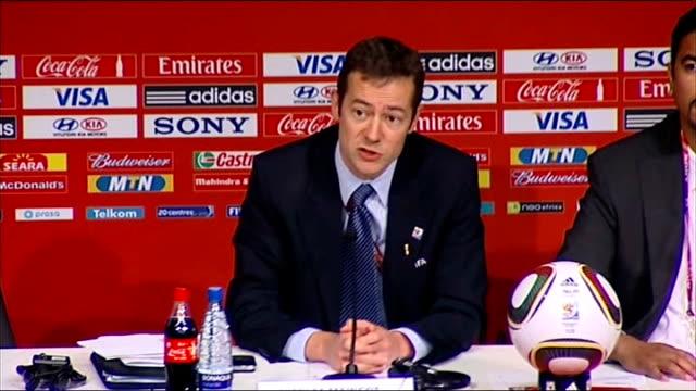 vídeos y material grabado en eventos de stock de refuse to comment on goal-line technology; int nicholas maingot press conference sot - fifa
