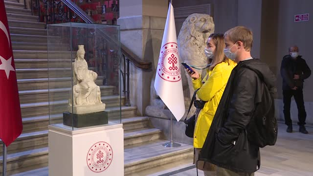 regarded as the symbol and protector of fertility and abundance in pre-historic times, cybele has been started to be displayed in an istanbul museum... - animal family stock videos & royalty-free footage
