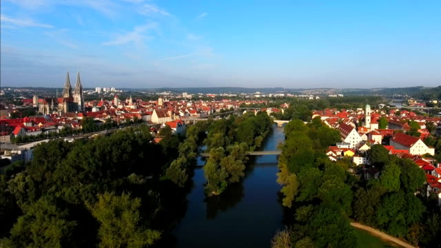 regensburg and stadtamhof district from the east - regensburg stock videos & royalty-free footage