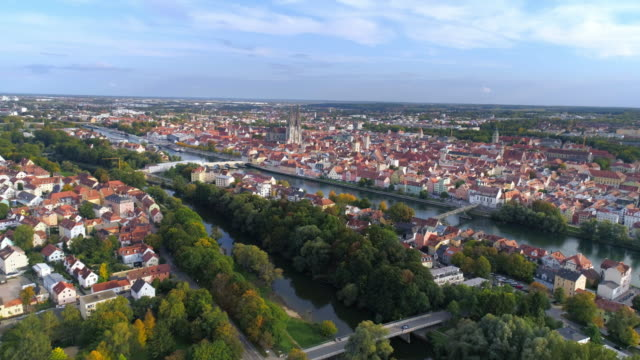 regensburg and the danube river from the northwest - regensburg stock videos & royalty-free footage