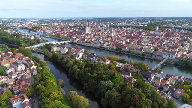 regensburg and the danube river from the northwest - unesco world heritage site stock videos & royalty-free footage