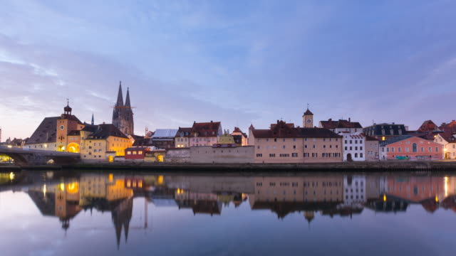 tl regensburg city center and danube river night to day - regensburg stock videos & royalty-free footage