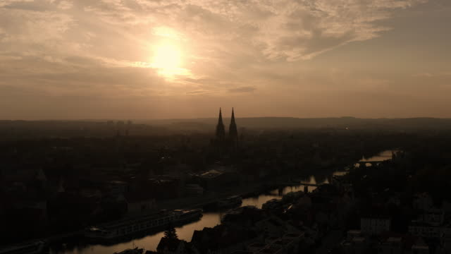 regensburg in the evening sun - regensburg stock videos & royalty-free footage