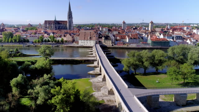 regensburg old town and ancient stone bridge - regensburg stock videos & royalty-free footage