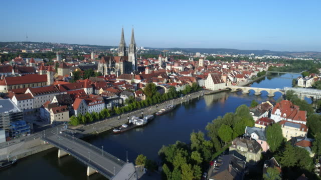 regensburg old town and danube river from the northeast - unesco world heritage site stock videos & royalty-free footage