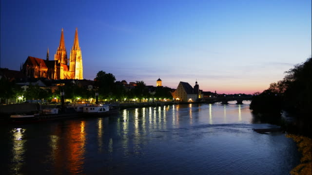 regensburg old town and the danube river at blue hour - regensburg stock videos & royalty-free footage