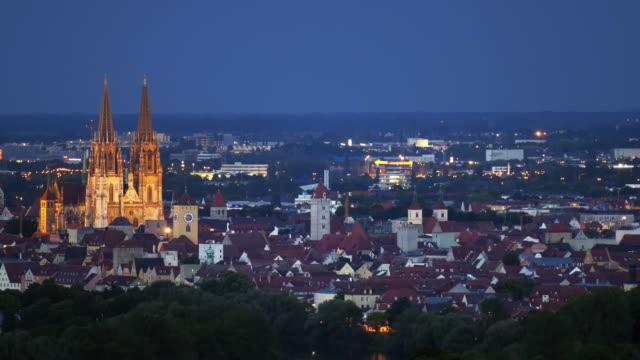 regensburg old town at night - regensburg stock videos & royalty-free footage