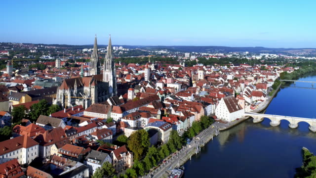 regensburg old town from the east - river danube video stock e b–roll