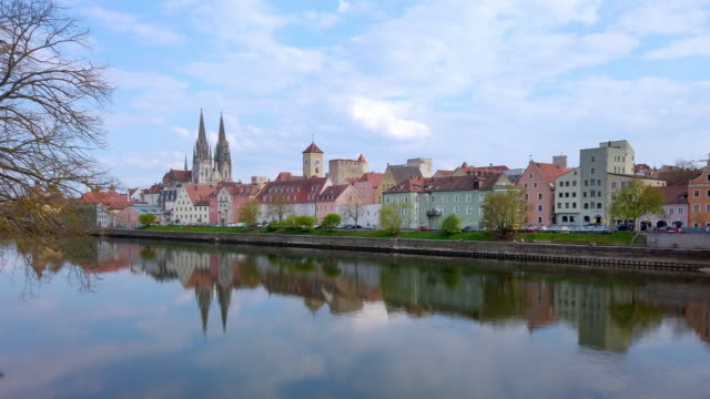 regensburg old town from the southwest - regensburg stock videos & royalty-free footage