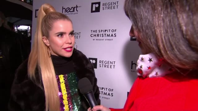 Regent Street Christmas lights switched on by Paloma Faith ENGLAND London Regents Street EXT Paloma Faith interview SOT