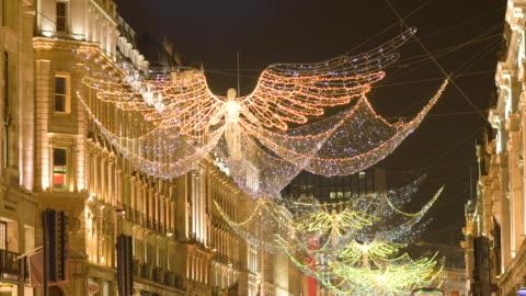 vídeos de stock e filmes b-roll de regent street christmas lights - fairy lights