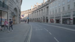 Regent Street London at dusk devoid of people and traffic