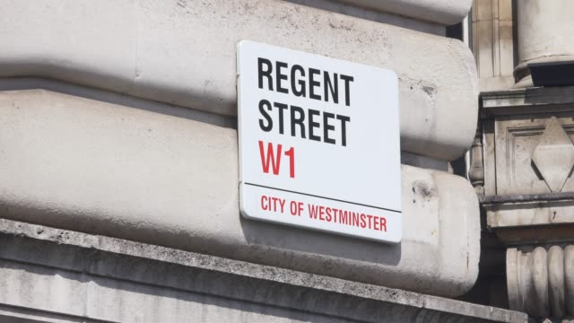 regent street sign. westminster. london england. - sign stock videos & royalty-free footage