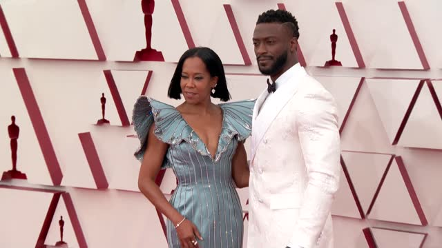 stockvideo's en b-roll-footage met regina king, aldis hodge at the 93rd annual academy awards - arrivals on april 25, 2021. - academy awards