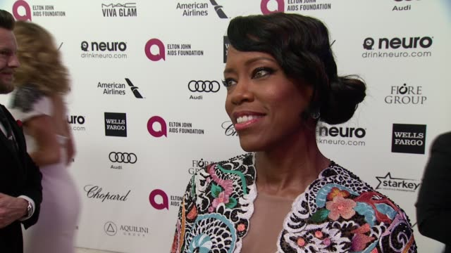 interview regina king at the 23rd annual elton john aids foundation academy awards viewing party sponsored by chopard neuro drinks and wells fargo on... - regina king stock videos and b-roll footage