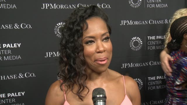 regina king on being at the event tonight and diversity in tv at the paley center for media's tribute to african-american achievements in television... - 2015 stock videos & royalty-free footage