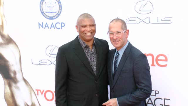 stockvideo's en b-roll-footage met reginald hudlin and philip gurin at the 46th annual naacp image awards - arrivals at pasadena civic auditorium on february 06, 2015 in pasadena,... - pasadena civic auditorium