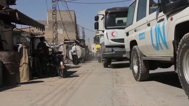 A region besieged by the regime forces east of Syria's capital on Sunday received UN aid for the first time in five years a UN source said