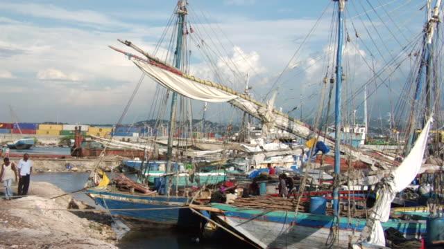 vídeos y material grabado en eventos de stock de ms regional sail boats at pier / haiti - hispaniola