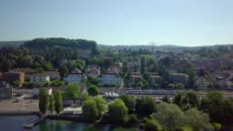 Regional Train Pulling into Train Station Tiefenbrunnen near Zürich