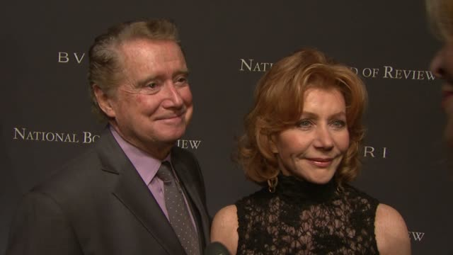 regis philbin and joy philbin on how great the nation board of review is rooting for slum dog millionaire at the the 2008 national board of review of... - regis philbin stock videos and b-roll footage