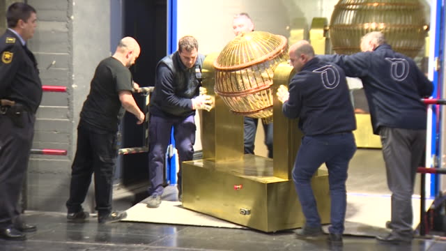 rehearsal of spanish christmas lottery called 'el gordo' that takes place every december 22nd and it is the biggest and most popular draw of the year. - lotterie stock-videos und b-roll-filmmaterial