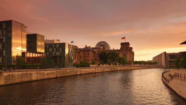 Reichstag Berlin Reflection with Sunset
