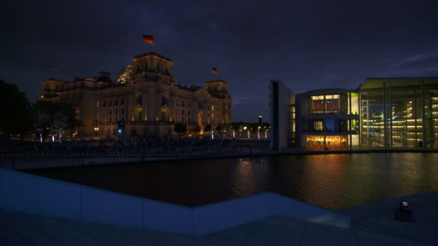 reichstag building, river spree and paul-löbe-haus buildings at dusk, platz der republik. berlin, germany, europe. - river spree stock videos & royalty-free footage