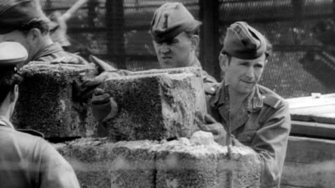 reichstag in west berlin / soldiers guarding the wall with dogs and guns / armored car drives past / soldier removing barbed wire from top of wall /... - guarding stock videos & royalty-free footage