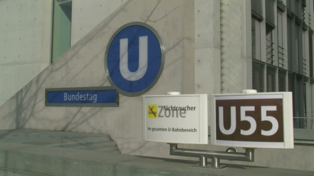 stockvideo's en b-roll-footage met  ms reichstag subway station at government district / berlin, germany - westers schrift
