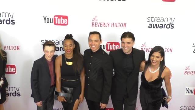reid miller, tony valenzuela, monique coleman & jarrett sleeper at the 6th annual streamy awards hosted by king bach and live streamed on youtube at... - monique coleman stock videos & royalty-free footage