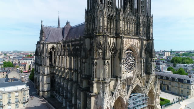 reims, aerial view of notre-dame de reims cathedral - cathedral stock videos & royalty-free footage