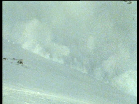 reindeer flee avalanches, snow rumbles down hill as reindeer run for safety - fuggire video stock e b–roll