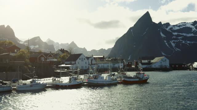 reine harbor at lofoten islands, norway - fishing industry stock videos & royalty-free footage