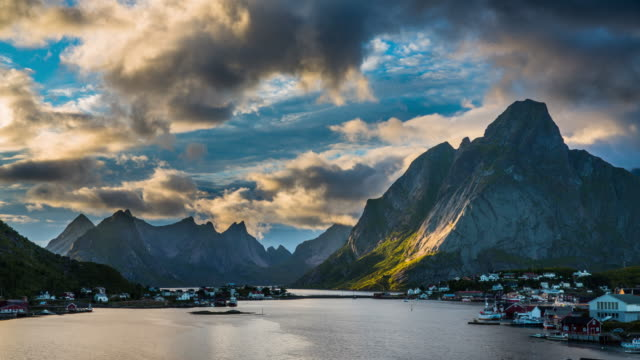 time lapse: reine, picturesque norwegian fishing village at the lofoten islands - north stock videos and b-roll footage
