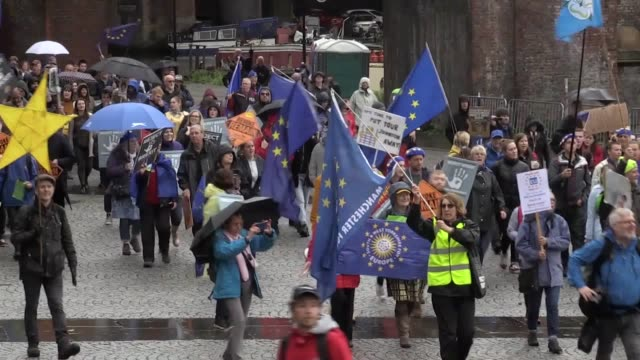 a reject brexit rally is held at castlefield bowl in manchester on the opening day of the conservative conference - bowl stock videos & royalty-free footage