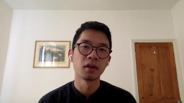 relations between china and uk hit new low over hong kong location nathan law 2way interview sot london reporter asking questions reporter listening - politics stock-videos und b-roll-filmmaterial