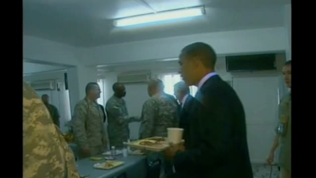 implications for karzai july then presidential candidate barack obama meeting troops in dining hall during visit to afghanistan - candidate stock videos & royalty-free footage