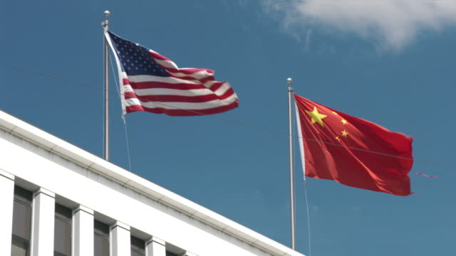 usa-china relations - chinese flag stock videos & royalty-free footage