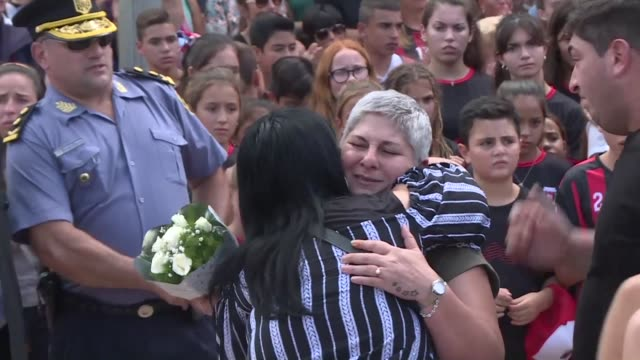 Relatives friends and fans bid farewell to Argentine football player Emiliano Sala who was killed in a plane accident in his home town of Progreso