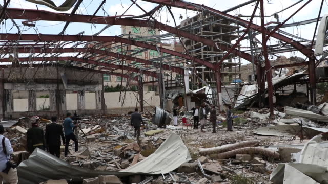 relatives of al kubra hall's victims attend a gathering held to commemorate the third anniversary on october 08 2019 in sana'a yemen on october 8... - air attack stock videos & royalty-free footage
