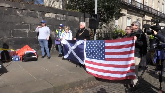 relatives of dunblane massacre victims were among hundreds of people who protested outside the us consulate in edinburgh on saturday as part of a... - march for our lives video stock e b–roll
